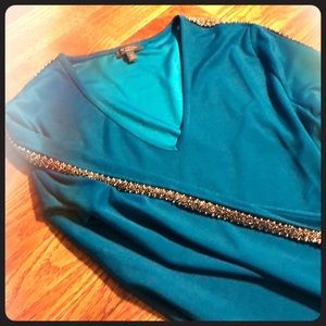 Teal long sleeve blouse with silver beading
